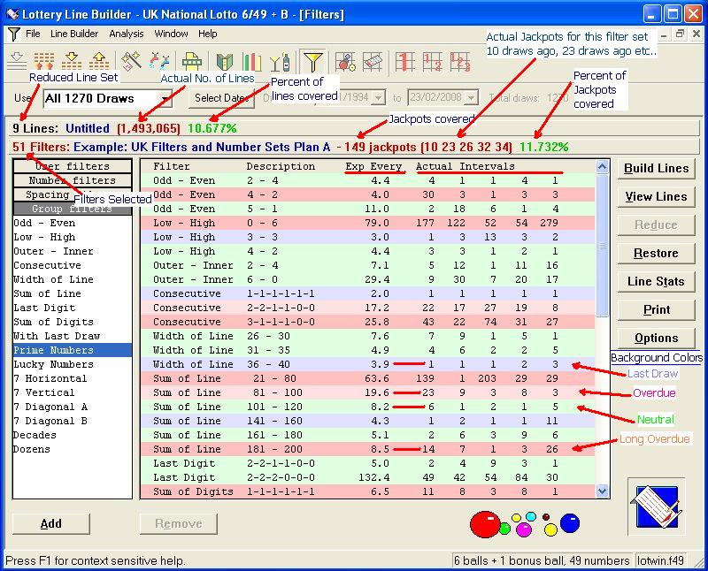 Click to view LotWin 2010 Lottery Line Builder 3.605 screenshot